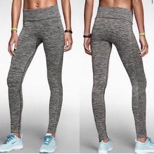 Nike Dri Fit Seamless Foldover Leggings Gray Knit